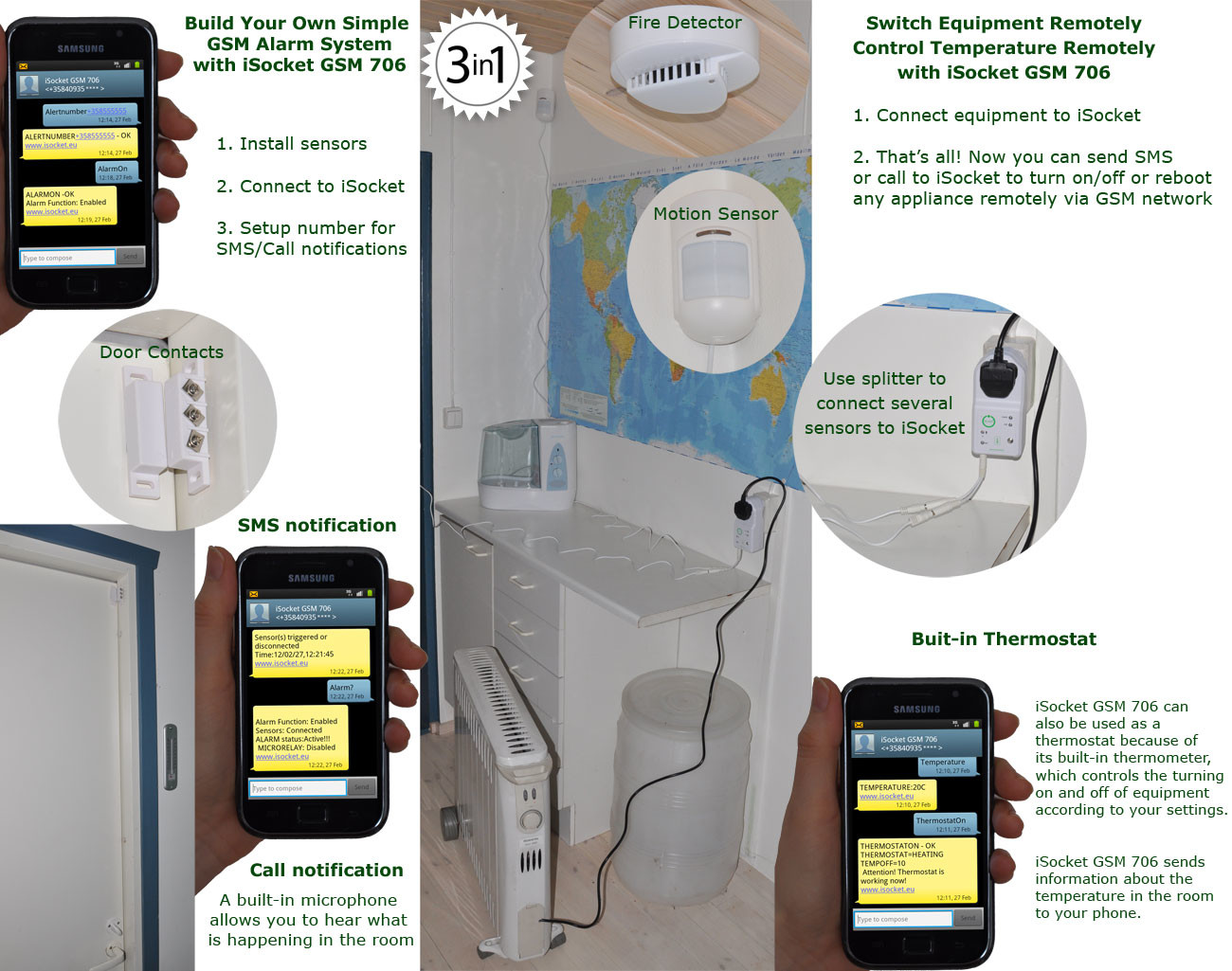 isocket t l commande gsm pour chauffage climatiseur. Black Bedroom Furniture Sets. Home Design Ideas